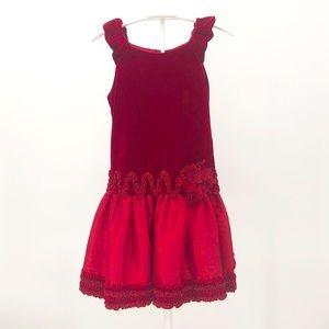 Isobella & Chloe Dress Red Velvet Girls 10 Ruffle